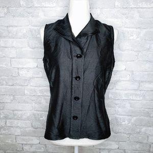 Talbots Pure Silk Black Sleeveless Blouse - 10